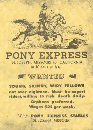 Pony Express Rider Wanted Ad